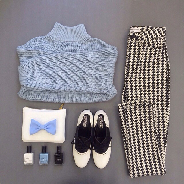 Black & white monochrome pieces with ice blue accents.