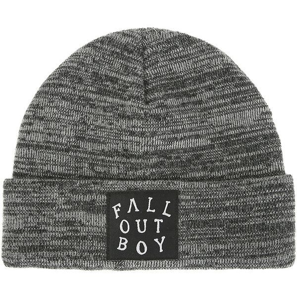 a0248fecf09 Fall Out Boy Grey Black Marled Knit Watchman Beanie Hot Topic (265 MXN) ❤  liked on Polyvore featuring accessories