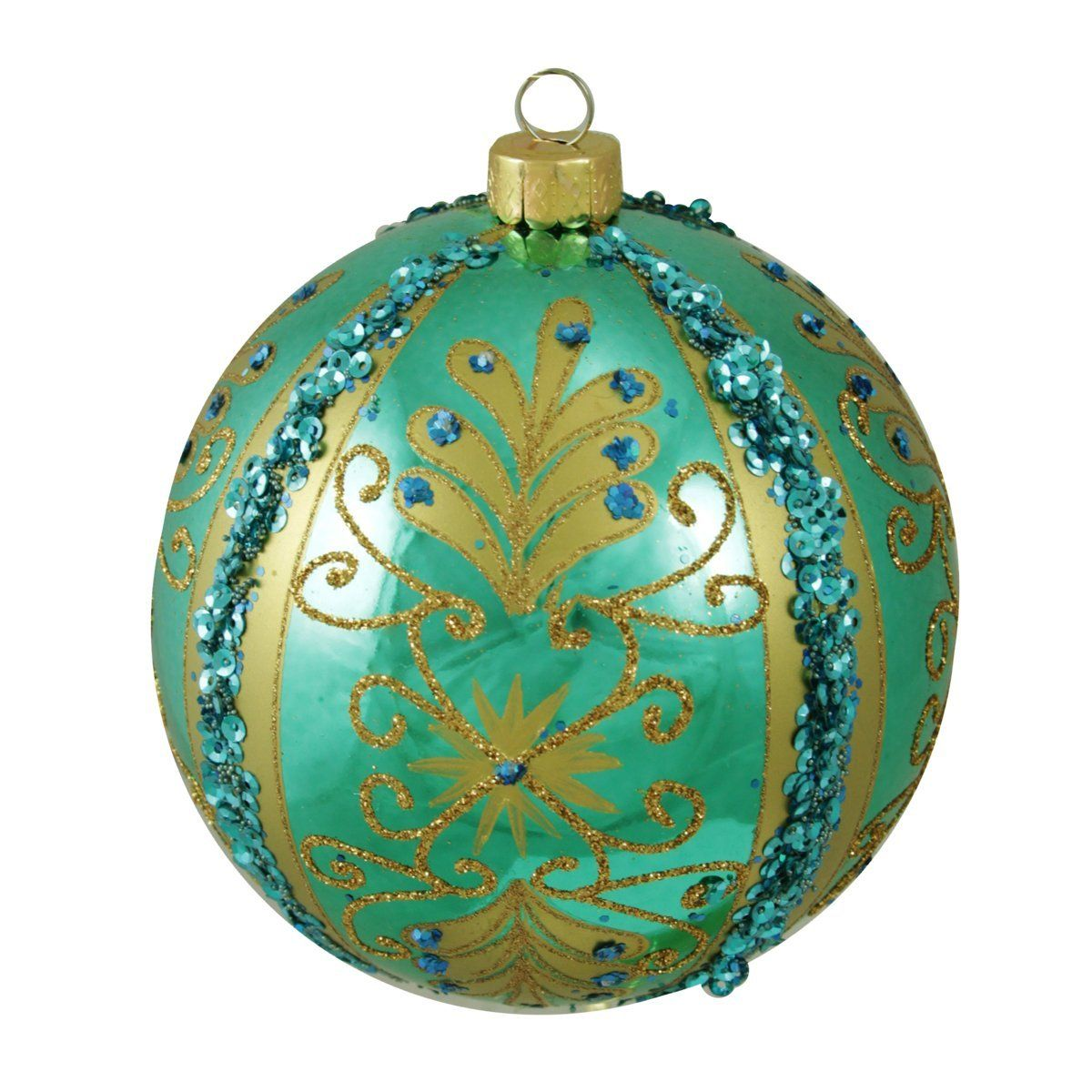 Teal Green Shiny Floral Striped Shatterproof Christmas Ball Ornament