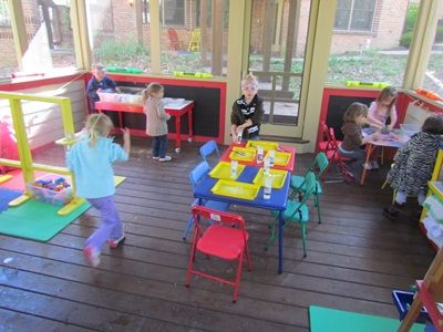 The outdoor classroom is primarily used for science, nature, and sensory play.... I soooo want one of these rooms!!