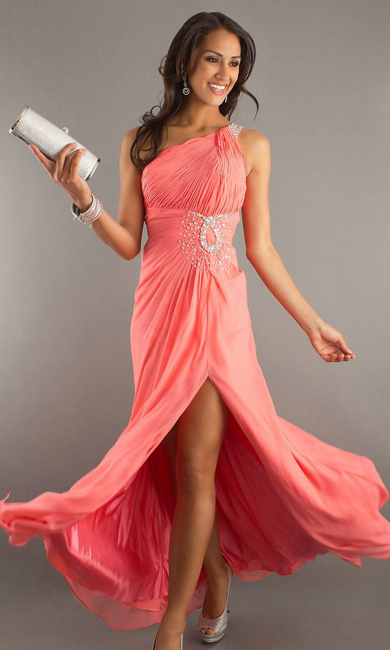 coral Cocktail Dresses | ... Bodice Sequin Embellished Waist Long ...