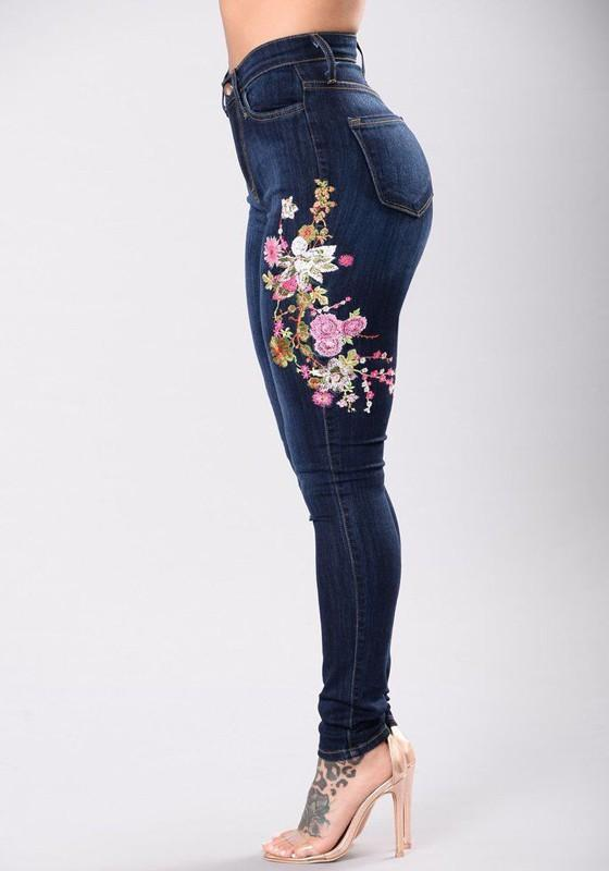3714bfdf4 Women Dark Blue Embroidery Flowers Ripped High Waisted Skinny Jeans Pants  For Women, Clothes For