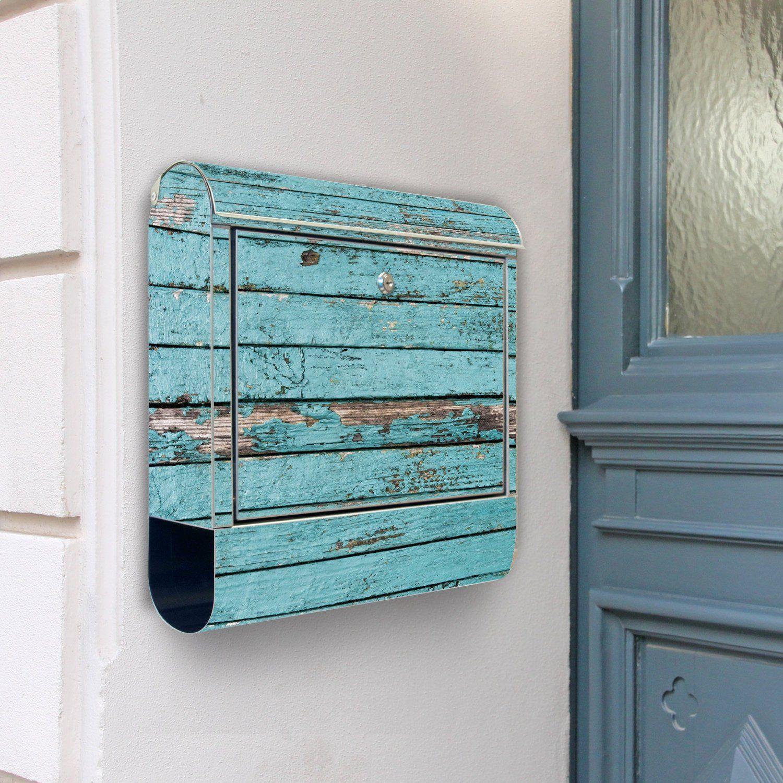 Design Briefkasten Edelstahl Briefkästen 38x42x11 von banjado mit Motiv Blaue Holzlatten Amazon
