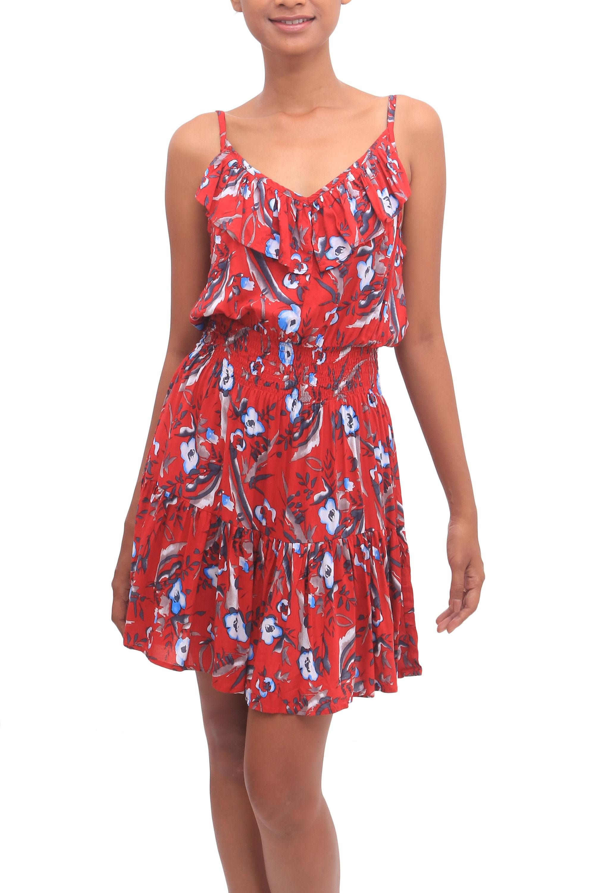 Floral Rayon Empire Waist Short Sundress in Strawberry, 'Strawberry Bouquet' #shortsundress