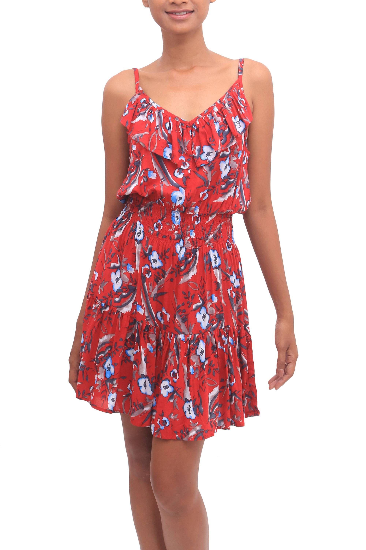 Rayon empire waist short sundress, 'Strawberry Bouquet' #shortsundress