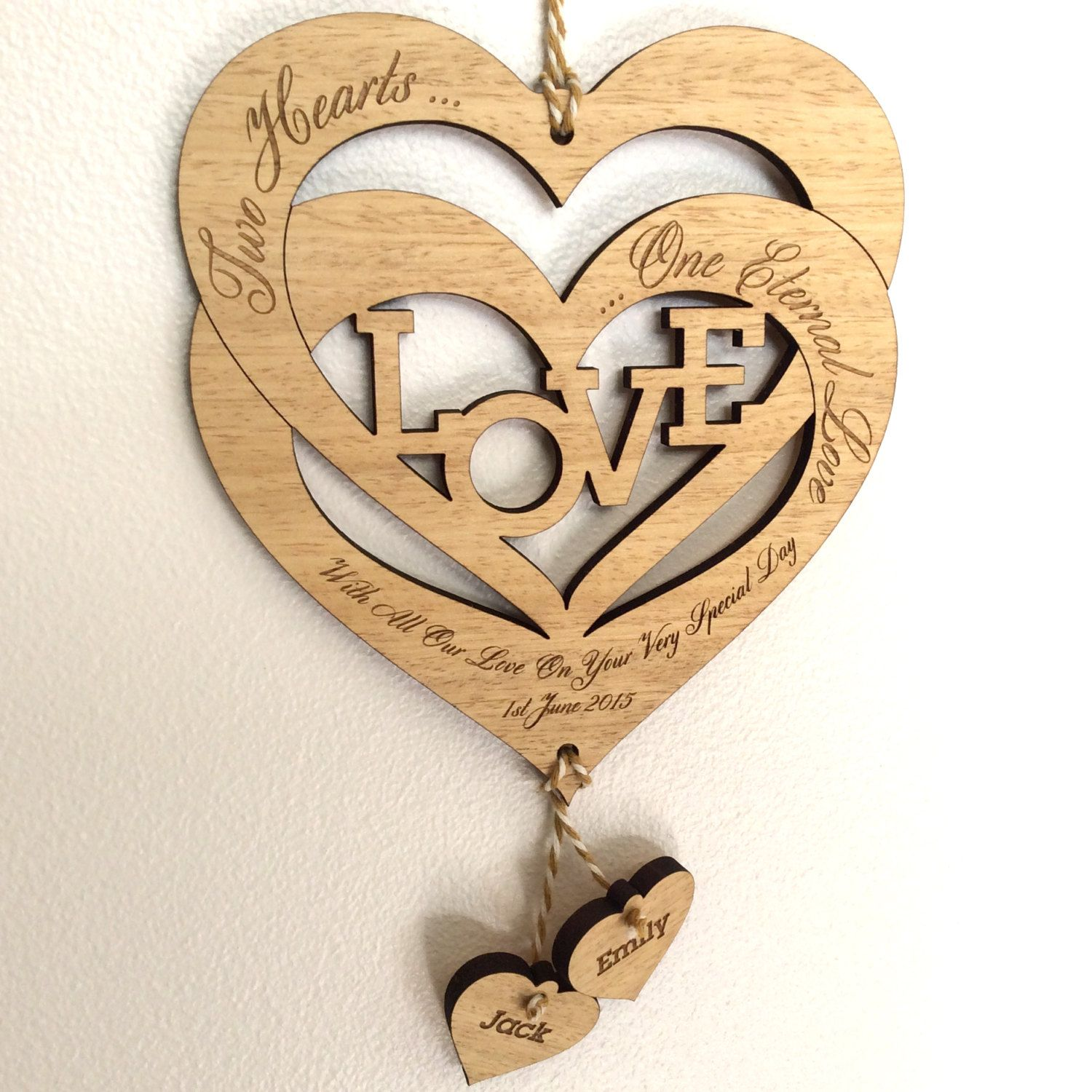 Love Heart Personalised Lamp Unique Wedding Gift