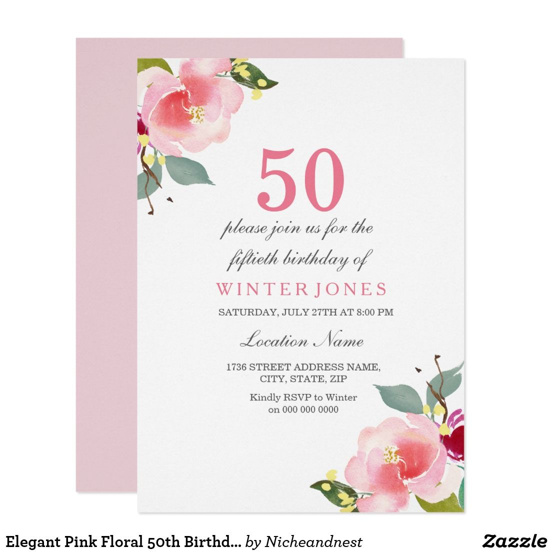 Elegant Pink Floral 50th Birthday Party Invitation | Pinterest ...