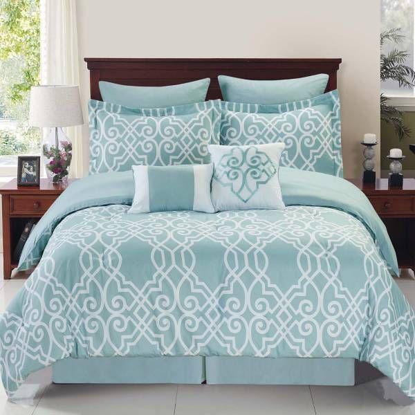 Dawson Reversible Comforter Set In Blue White Comforter Sets