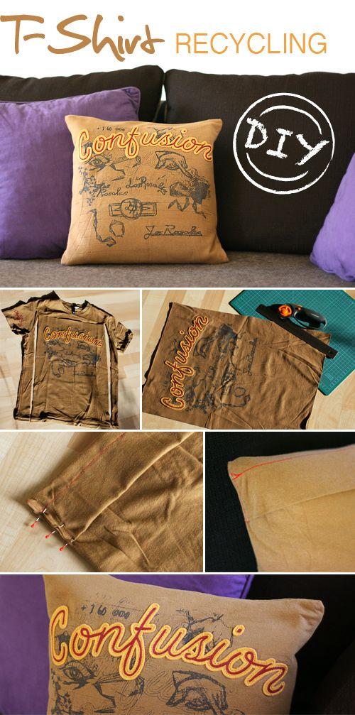 DIY, shirt, pillow, recycling, sewing, fabric