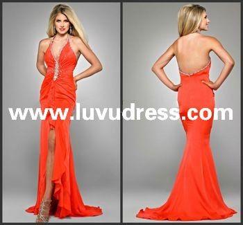Pageant Dress! Sheath Floor Length Halter Backless Chiffon Elegant 2014 Prom Dress