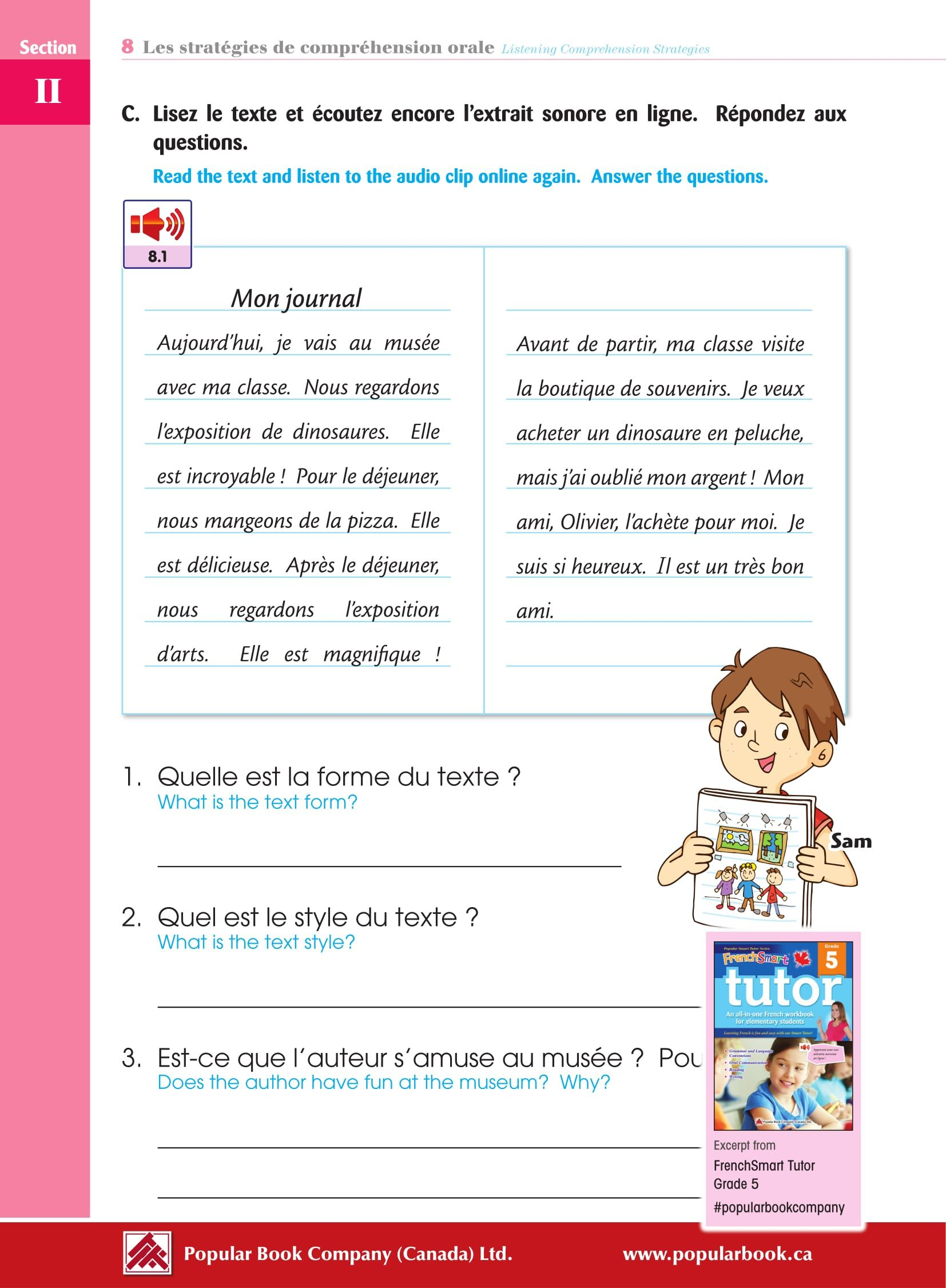 Download the free sample pages from FrenchSmart Tutor Grade 5 workbook.  #PopularBookCompany #FrenchSmartT…   Free worksheets for kids [ 2252 x 1654 Pixel ]