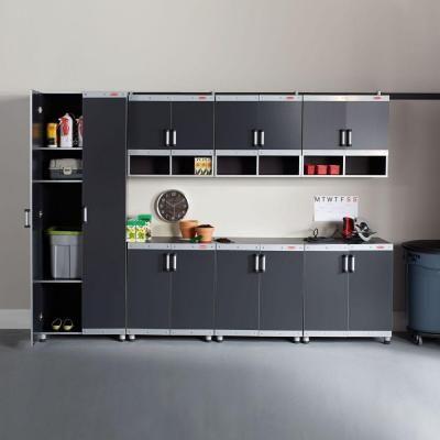 Rubbermaid Fasttrack Garage Laminate Cabinet Set In Black Silver