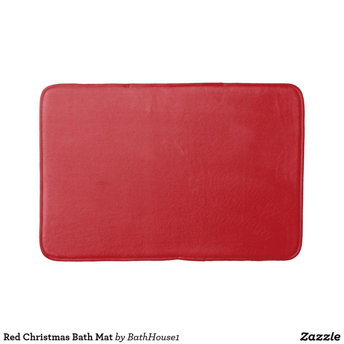 Red Christmas Bath Mat Zazzle Com Bathroom Red Bath