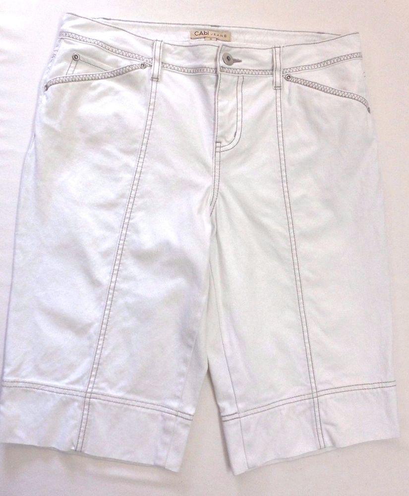 CAbi Jeans Women's Stretch Denim Bermuda Walking Shorts 8 White ...