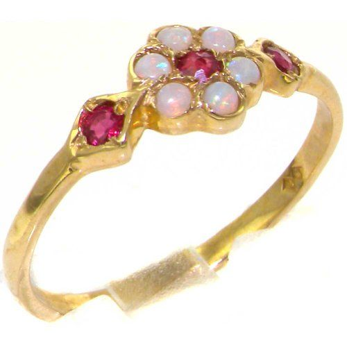 Save $148.00 on Luxury 9K Yellow Gold Womens Ruby & Opal Vintage Style Cluster Ring - Finger Sizes 4 to 12 Available; only $221.00
