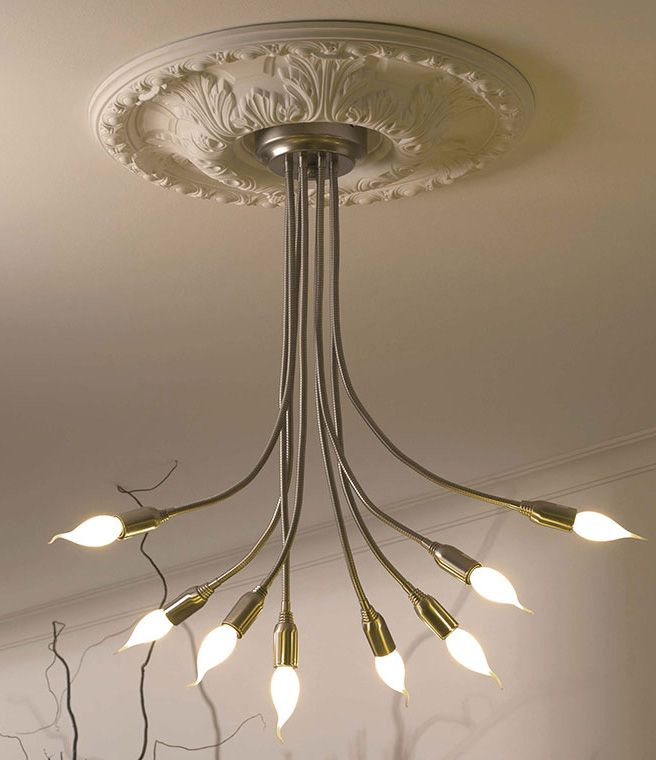 Decorative Ceiling Medallion With Modern Light Fixture