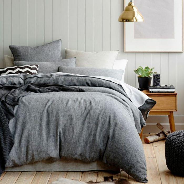linge de lit en lin linge lit lin gris lampe dor e pendante bed linen modern pinterest. Black Bedroom Furniture Sets. Home Design Ideas