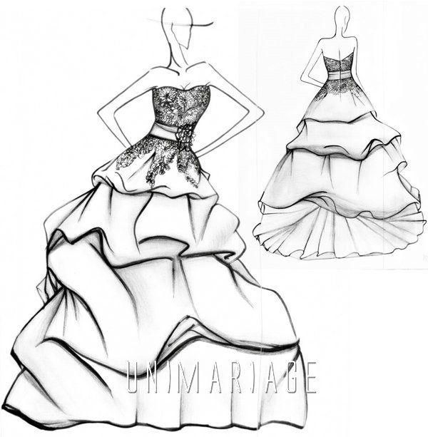 Bicolore robe de mari e 2013 dentelle ruban organza fleur uni0416 croquis esquisses idees - Coloriage de mariee ...