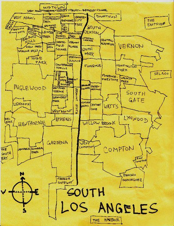 Ink Map Of South Los Angeles Neighborhoods Los Angeles Neighborhoods Los Angeles Map The Neighbourhood