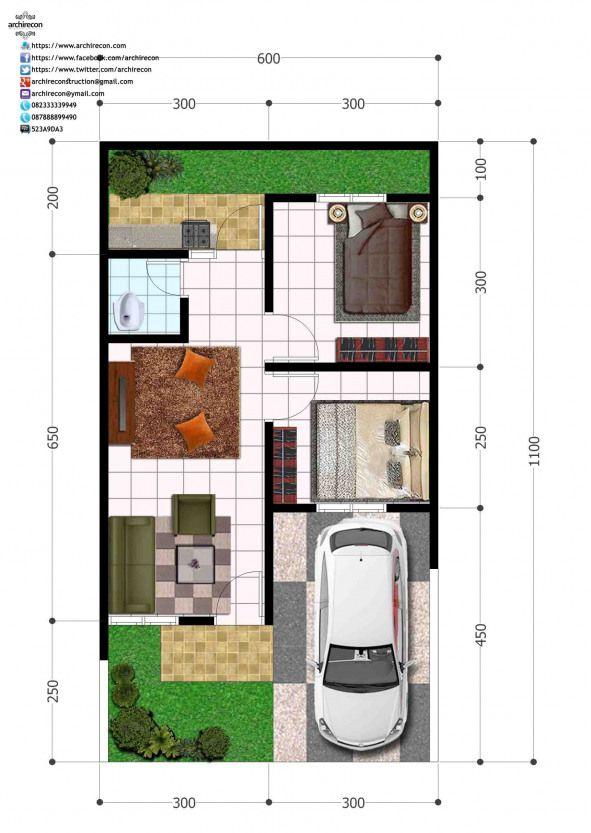Perumahan Green Land Villa Denah Type 36 Shedplans Denah Rumah Denah Desain Rumah Arsitektur Rumah