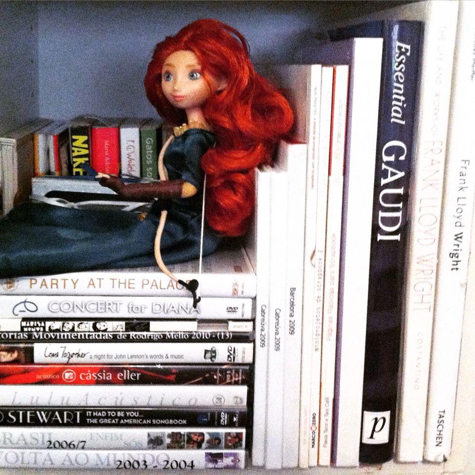 #cubo #decor #books #architecture #art #franklloyd #gaudi #dvd #music #brave #princess #merida #organização #desapego