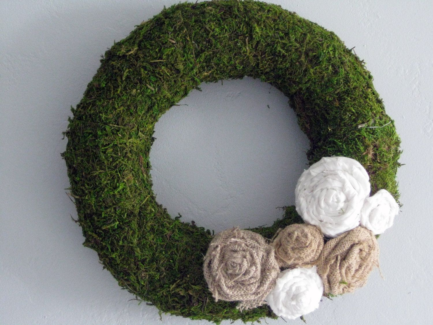 """Moss Wreath - 14"""" - natural. $39.00, via Etsy.  Possible DIY project."""