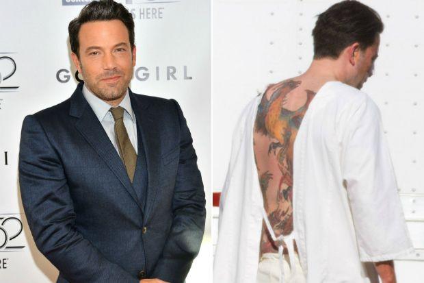 Ben Affleck Says His Massive Back Tattoo Is Fake For A Movie Celebuzz Ben Affleck Back Tattoo Movies