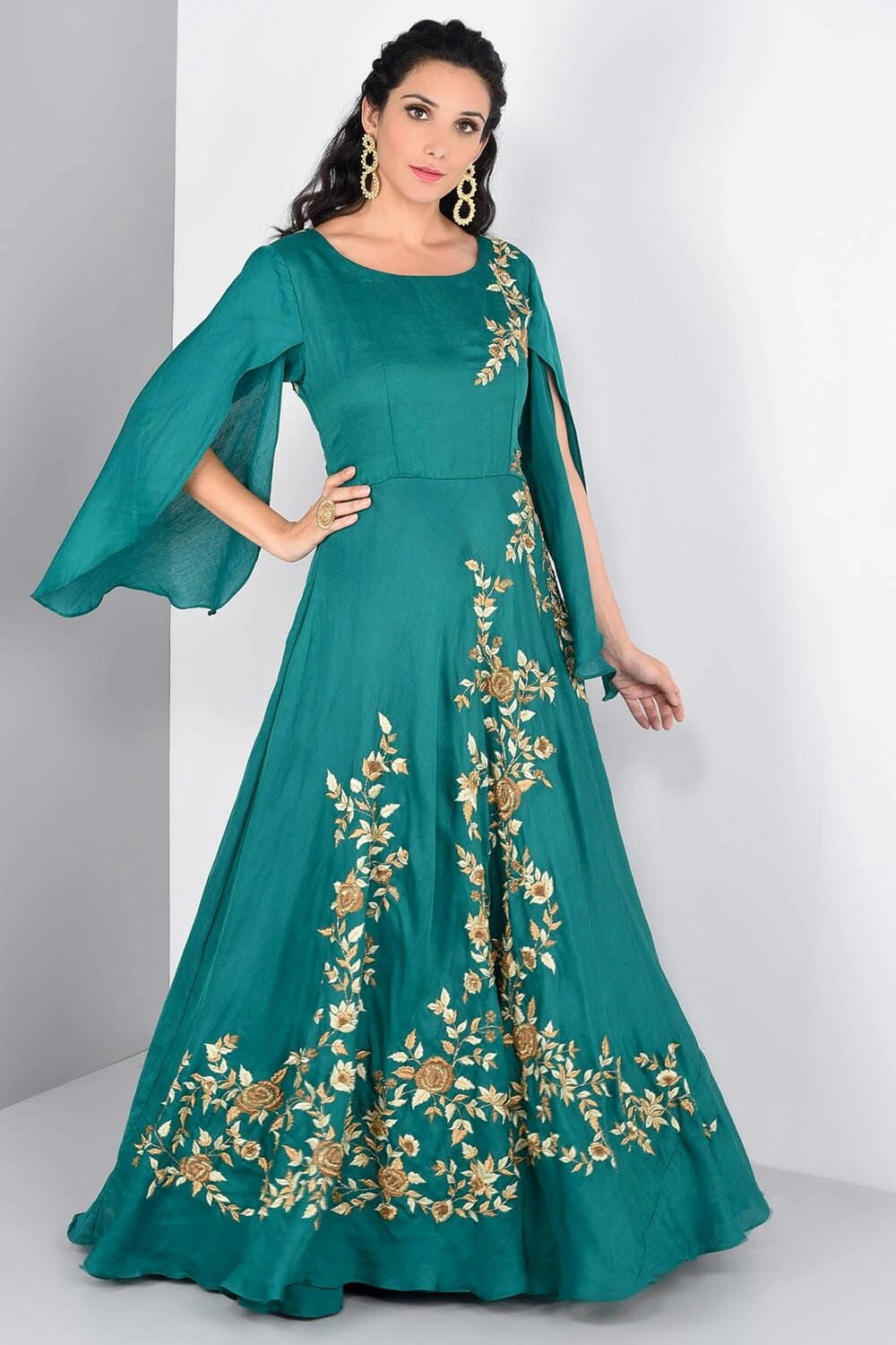 NIYOOSH - teal green bell sleeved gown | Pretty gowns | Pinterest ...