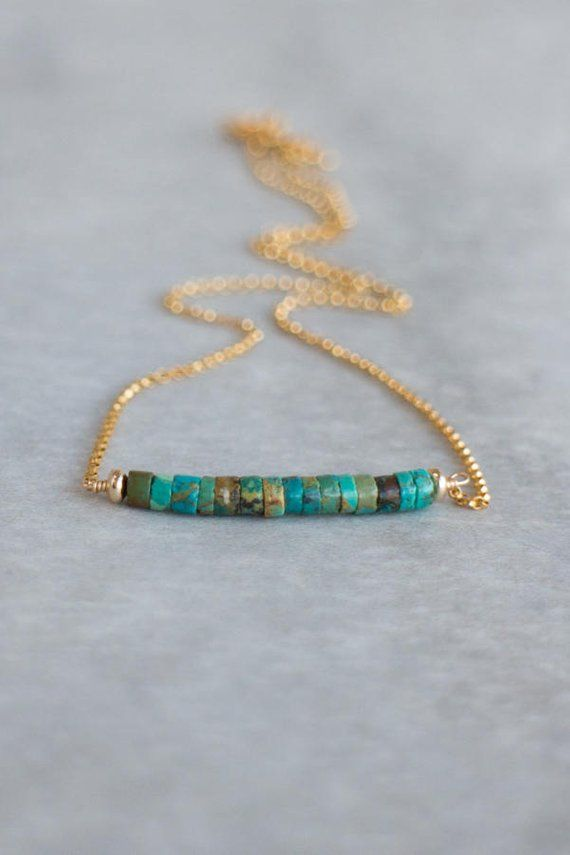 8964de5121bb8 Natural Turquoise Bar Necklace, Gift for Her, December Birthstone ...
