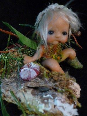 ooak baby miniature fairy faerie fae by No Tua Lyke fantasy fall pixie elf moss