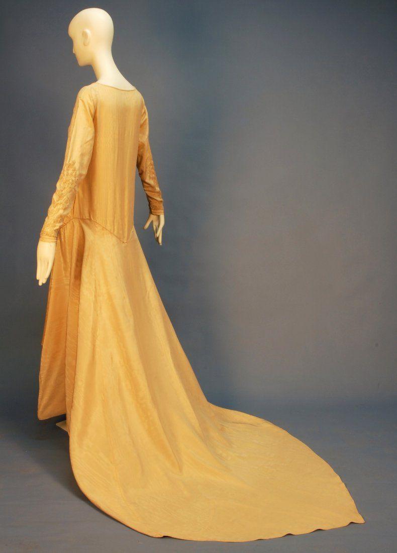trained moire silk robe de style wedding dress on