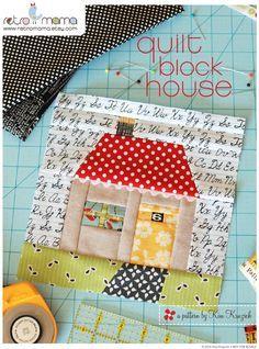 Quilt+Block+House+Patchwork+PDF+Sewing+Pattern+por+retromama,+$3,00