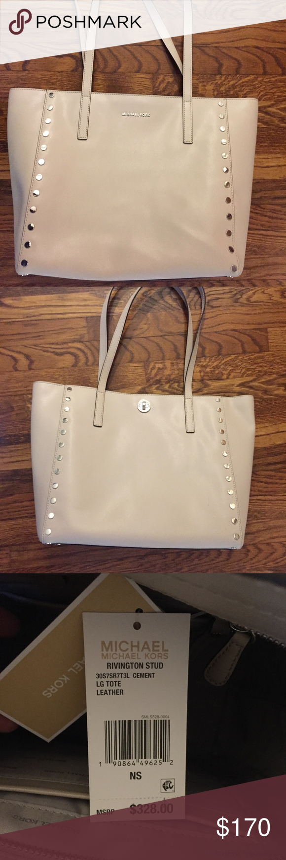 1f869fe652a0 Michael Kors Rivington Stud Large Tote Color: Cement/gray with silver tone  hardware Top zip closure Exterior pocket with turncock closure 11