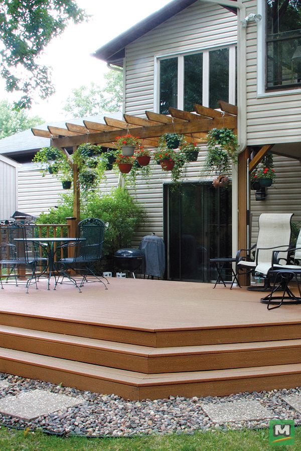 Ultradeck Rustic 1 In X 5 3 16 In X 8 Ft Cedar Grooved Edge Composite Decking Board Patio Deck With Pergola Patio Design