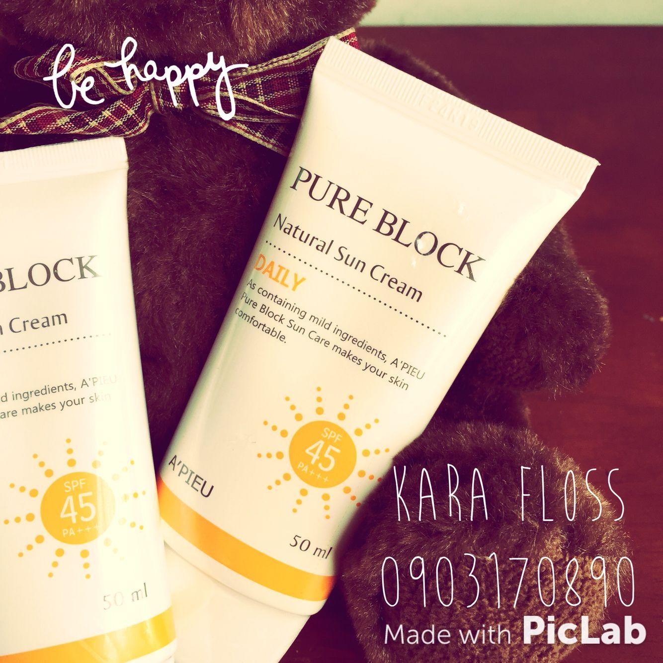 A Pieu Pure Block Natural Sun Cream Daily Spf45 Pa 50ml 170k