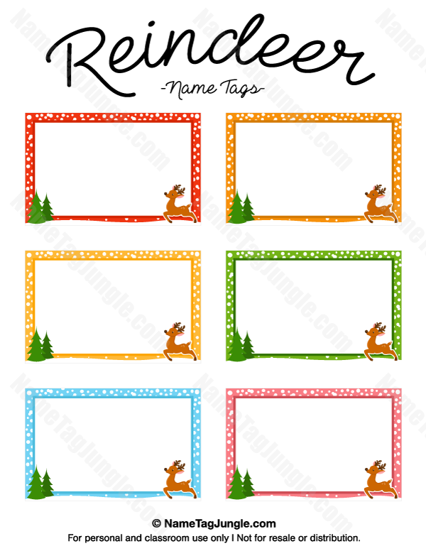 Free Printable Reindeer Name Tags The Template Can Also Be Used For - Name tags templates