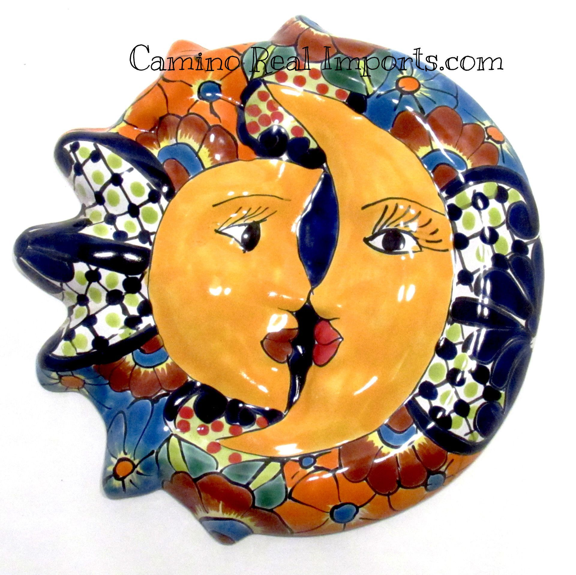 MEXICAN WALL HANGING TALAVERA POTTERY SUN AND MOON FACE ECLIPSE 12 ...