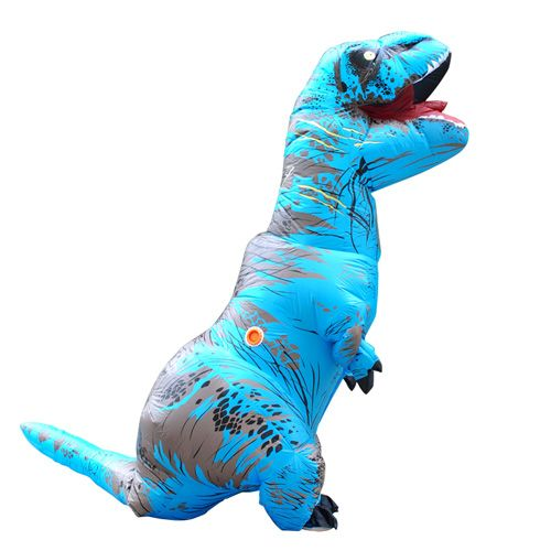 Carnival Dress Adult Blue T-REX INFLATABLE Dinosaur Costume Fancy Dress Cosplay Animal Jumpsuit Halloween