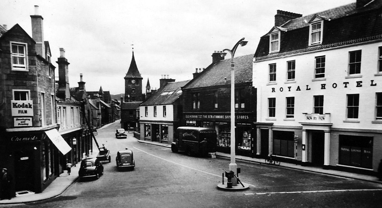 Old Photograph Of The High Street In Coupar Angus Perthshire Scotland