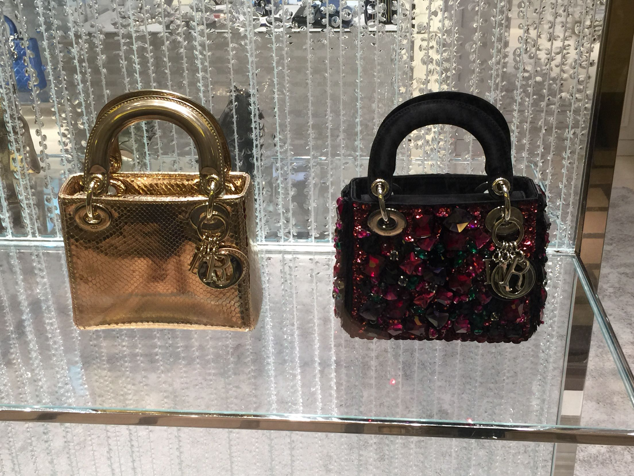 da2e4d034290 Lady Dior Micro Bag in Satin Embroidered with Jewels and the other in Gold  ❤ ❤️
