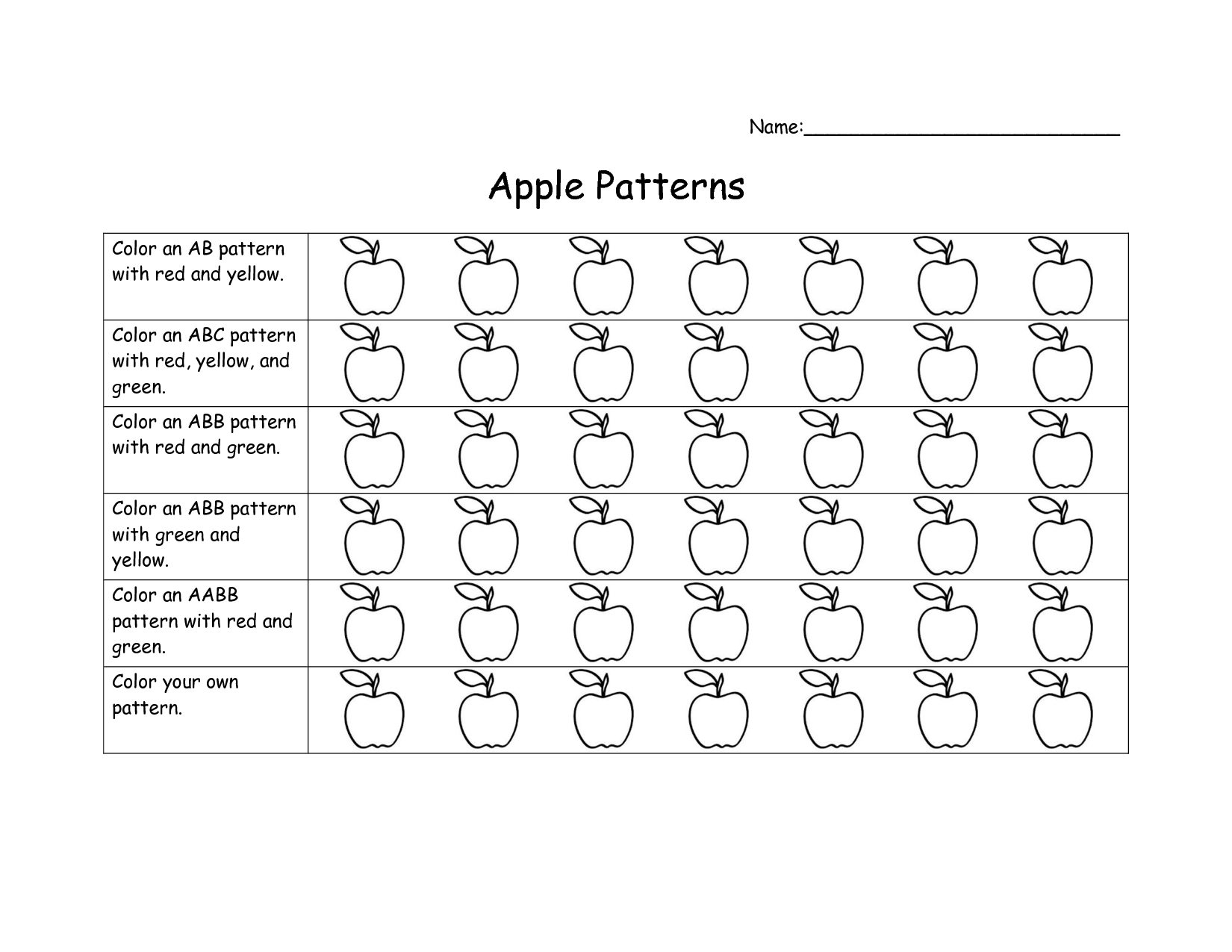 Ab Pattern Worksheets For Kindergarten Scope Of Work Template