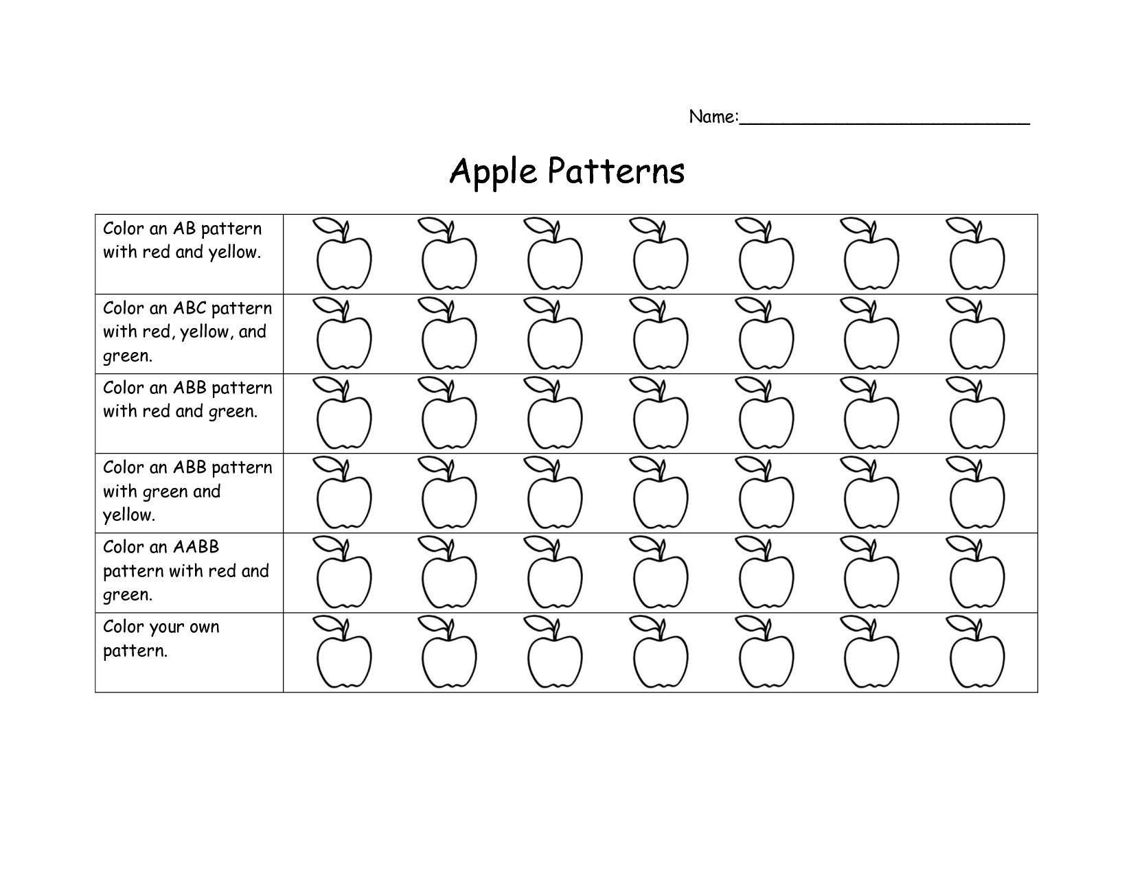 Kindergarten Patterns Worksheet & ab pattern worksheets for ...