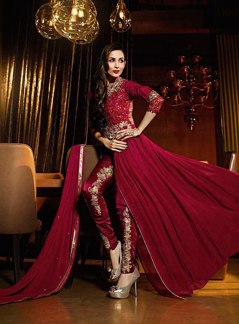 2bffafe6df Buy Malaika Arora Khan Maroon Georgette Designer Suit 71035 online at  lowest price from huge collection of salwar kameez at Indianclothstore.com.