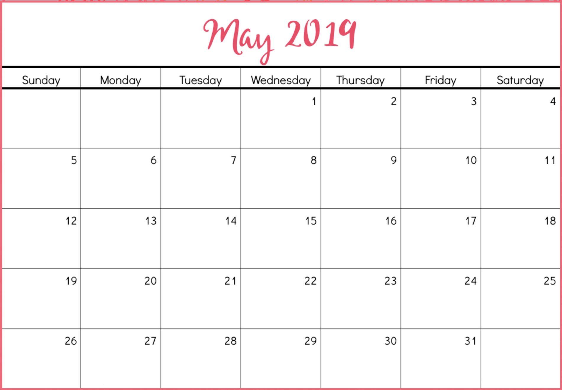 Cute May 2019 Printable Calendar May2019calendar 2019calendar