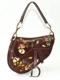 Christian Dior Brown Leather Floral Embroidery Saddle Bag Handbag 9c171b2a7bbe4