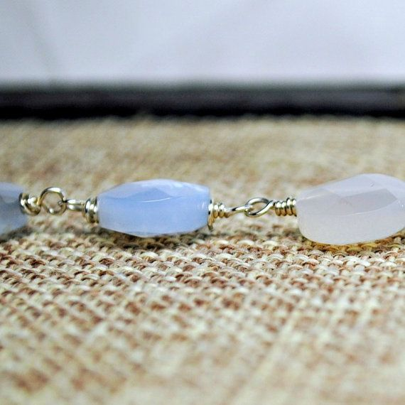 Blue Chalcedony Necklace Faceted Coin Oxidized by SidandElla, $27.00
