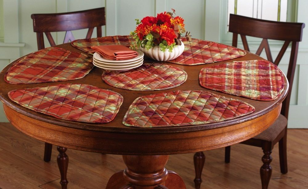 Round Table Fall Plaid Quilted Curved Placemats With Center Mat Set 7 Pcs New Placemats For Round Table Kitchen Table Placemats