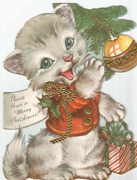 Kitten Christmas Cards.Vintage Cat Kitten Christmas Card Digital Download By
