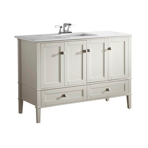 Simpli Home Chelsea 48 In Off White Bathroom Vanity With Marble