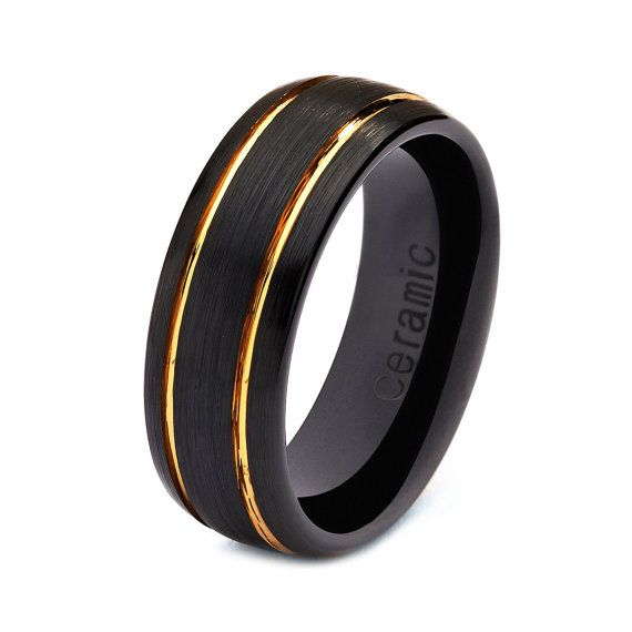 Mens Womens Ceramic Wedding Band Ring 8mm 18k Yellow Gold Black 515